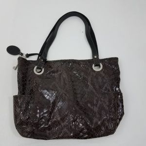Fossil Purse Tote Snake Print Leather Brown Black